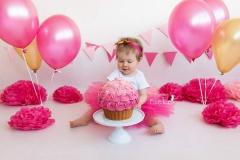 smash cake giant cupcake roze