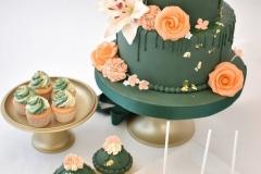 Bruidstaart-groen-met-oranje-sweets