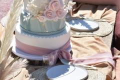 Bruidstaart-wit-groen-en-oud-roze-