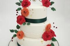 Bruidstaart-wit-met-groen-